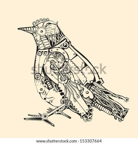 Metal Bird. - stock vector