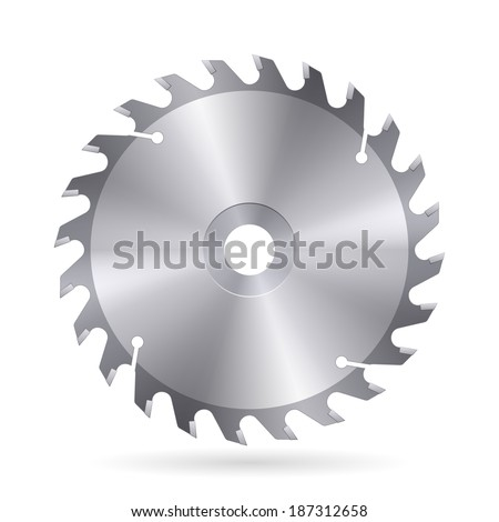 Metal blade  of circular saw on white background - stock vector