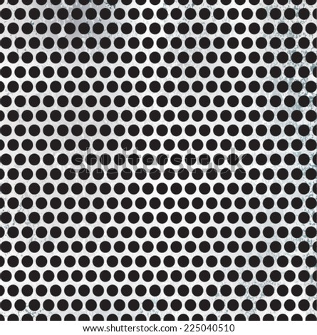 Metal Brushed Silver Background with Holes. Vector Illustration .