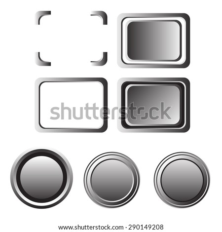 metal button and frame in circle and rectangle shape - stock vector