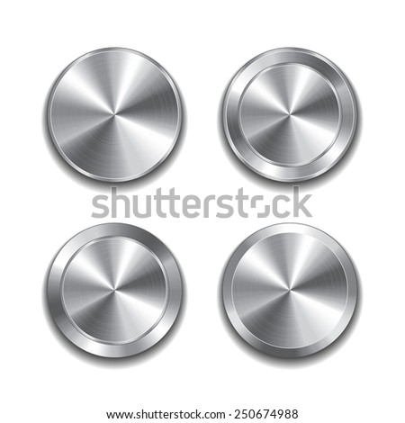 Metal button isolated on white photo-realistic vector illustration - stock vector