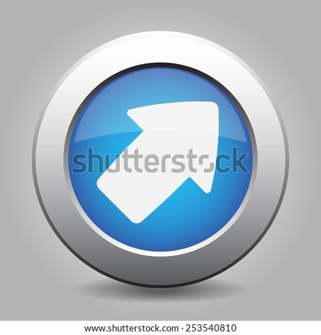 metal button with the blue direction arrow - stock vector