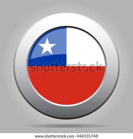 metal button with the national flag of Chile on a gray background - stock vector
