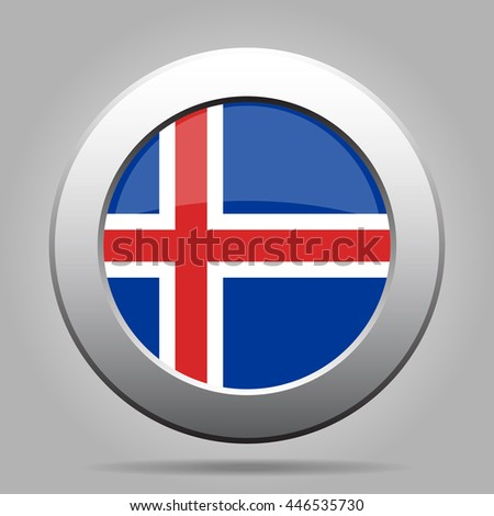 metal button with the national flag of Iceland on a gray background - stock vector