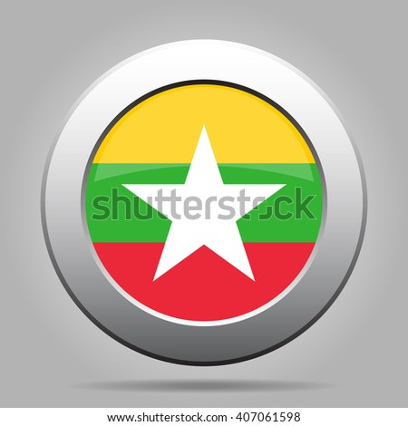 metal button with the national flag of Myanmar, Burma on a gray background - stock vector