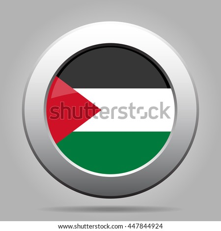metal button with the national flag of Palestine on a gray background - stock vector