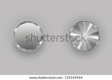 metal buttons gray - stock vector