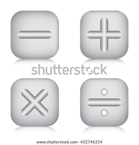 Metal calculator icon sets, Mathematics icons, Calculator symbol.