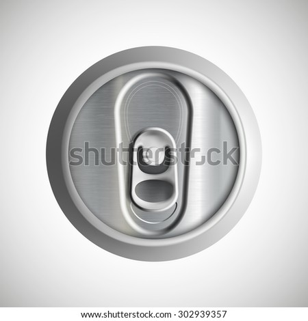 Metal can isolated on white background. View from above. Stock Vector.