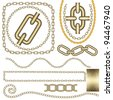 Metal chain vector set. - stock photo
