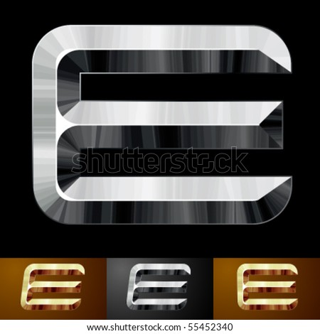 Metal chopped letters. Character e - stock vector