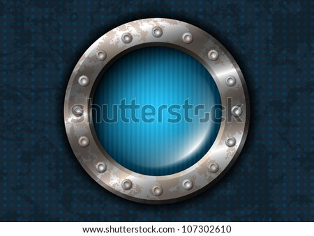 Metal circle with rivets - stock vector