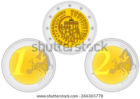 Metal coins. Set of coins with a face value. Obverse and reverse of euro. One and two euro coin - European Union money  - stock vector
