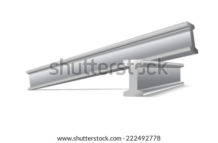 metal construction beams vector isolated on white - stock vector