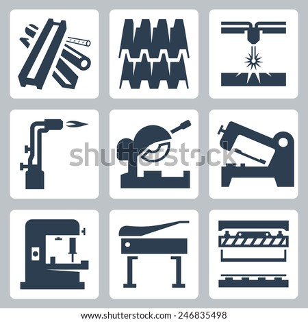 Metal cutting and metal products icon set - stock vector