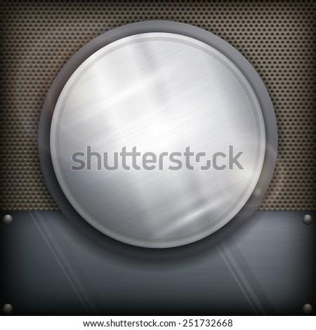 Metal design element, geometric symbol circle on dark, vector illustration - stock vector