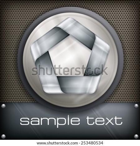 Metal design element, geometric symbol pentagon on dark, vector illustration - stock vector
