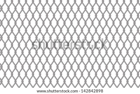 Metal fencing mesh over white background, vector illustration - stock vector