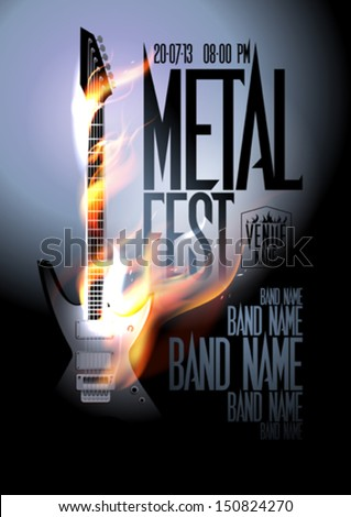 Metal fest design template with burning guitar and place for text. Eps10 - stock vector