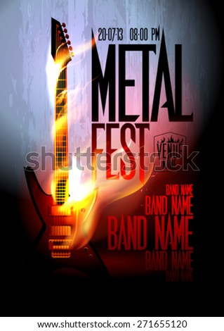 Metal fest design template with place for text. - stock vector