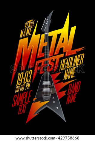Metal fest poster design with vintage v style electro guitar, copy space mockup - stock vector