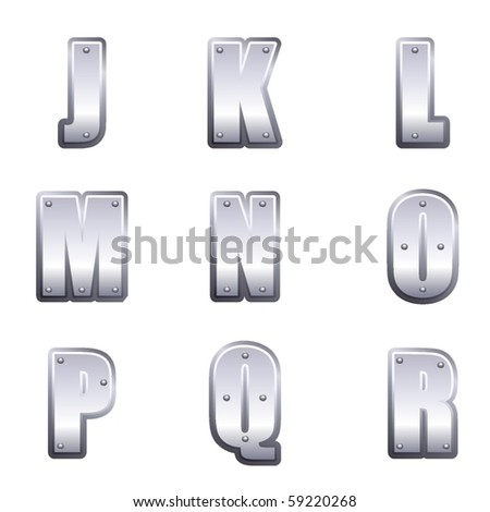 Metal font type J to R - stock vector