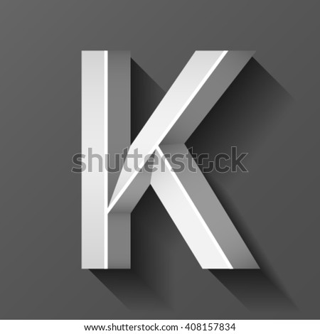 Metal font with bevel, letter K vector - stock vector