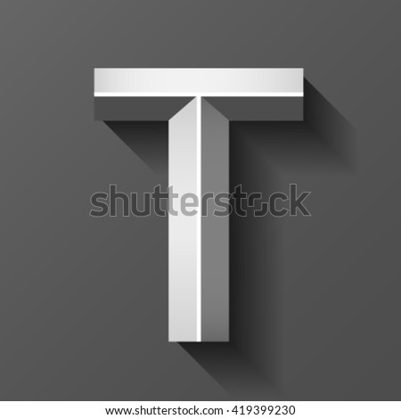 Metal font with bevel, letter T vector - stock vector