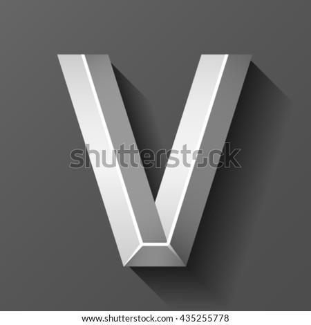 Metal font with bevel, letter V vector - stock vector