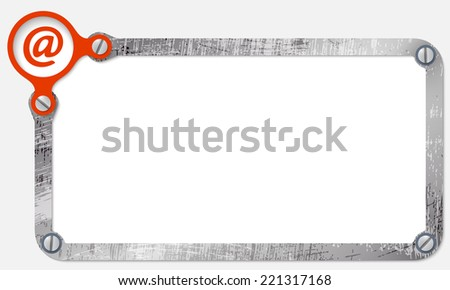 metal frame for text with screws and email icon - stock vector