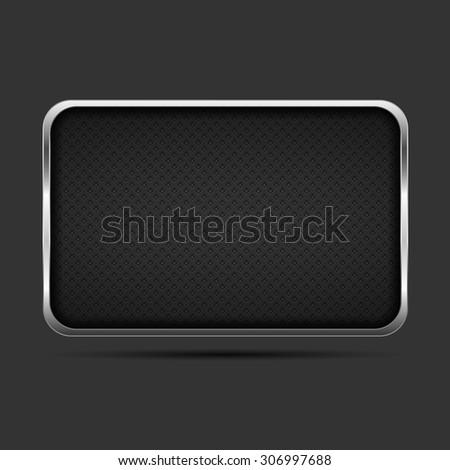 Metal frame on dark background, vector eps10 illustration - stock vector