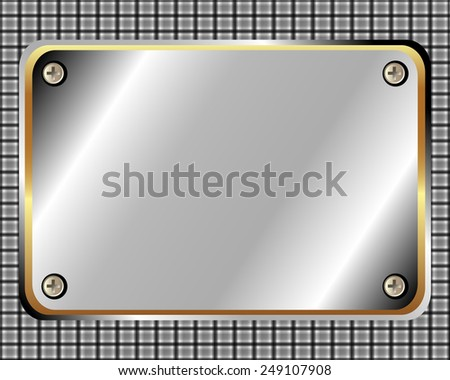 Metal frame with screws and space for your design - stock vector
