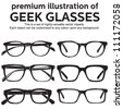 metal framed geek glasses vintage style clipart - stock vector