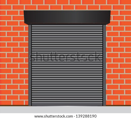 Metal gates for warehouse, garage and other industrial buildings. Vector illustration. - stock vector