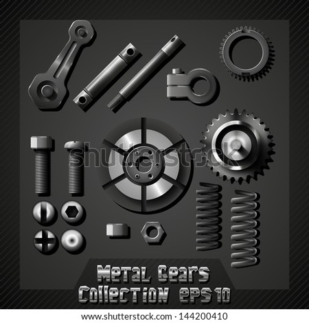 Metal gears collection - stock vector