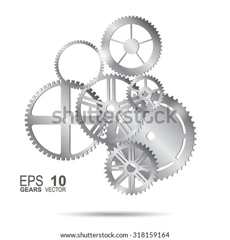 Metal gears with on the white background with shadow - stock vector