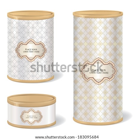 Metal Gift Box Set. Blank tincan collection with vintage label. Metal Tin Can. Retro Canned Food. Product Packing. - stock vector