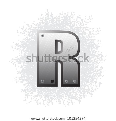 Metal grunge alphabet with bolts and scratches. Letter R.