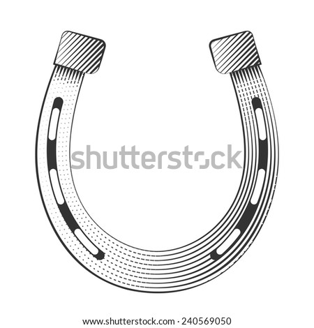 Metal horseshoe on a white background, excellent vector illustration, EPS - stock vector