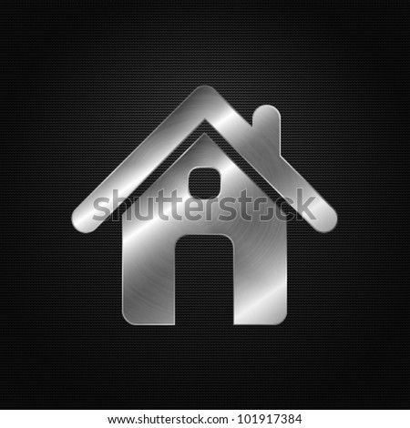 Metal icon - home - stock vector