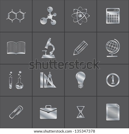 metal icons of a science. vector set. eps10 - stock vector