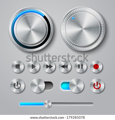Metal interface buttons collection for power volume playback control vector illustration - stock vector
