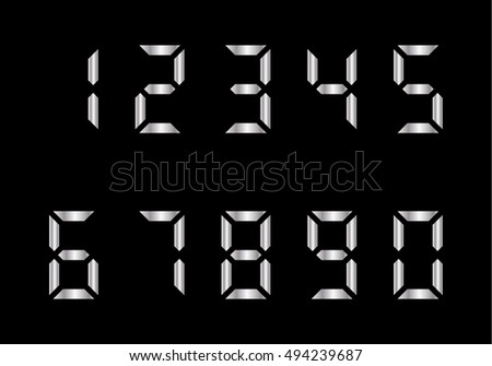 metal led digits vector electronic numerals
