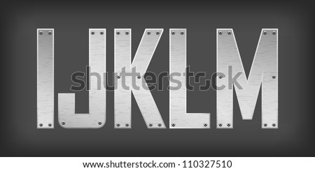 Metal letters and symbols - stock vector