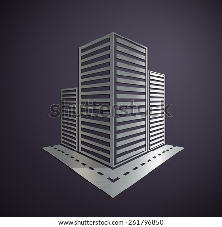 Metal Logo of the real estate. Vector image. - stock vector