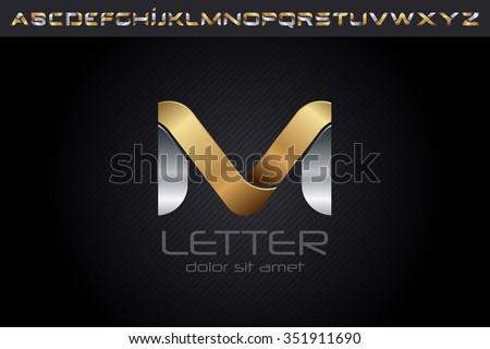 Metal M Letter Logo, alphabet logo design. - stock vector