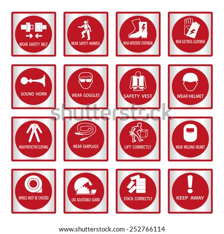 Metal mandatory signs , Construction health and safety sign used in industrial applications,Vector illustration - stock vector