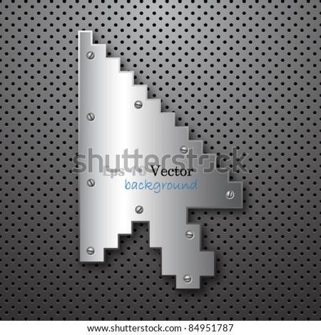 Metal mouse arrow cursor - stock vector