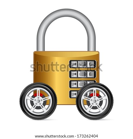 Metal Padlock on Wheels, isolated on white background  - stock vector