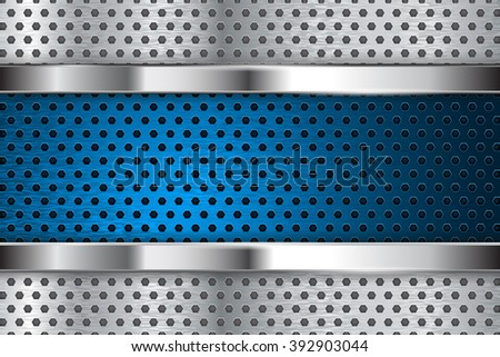 Metal perforated background with blue steel plate. Vector illustration  - stock vector